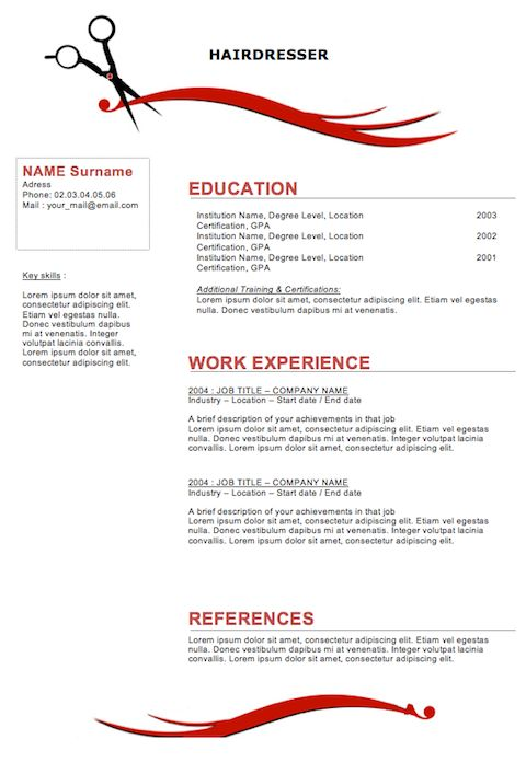 sample resumes for hairstylist cosmetologist Hairdresser Resume - resume for cosmetologist