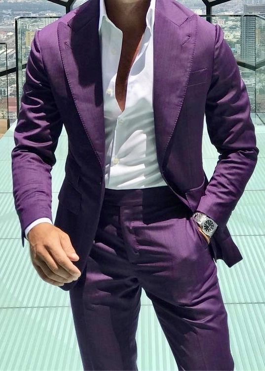 Men S Purple Suit With White Shirt And Watch Menswear