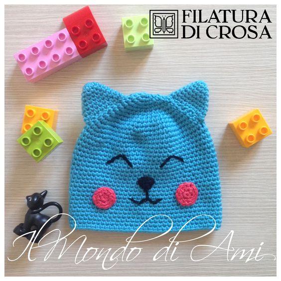 Berretto #handmade gatto azzurro per bimbo 4/6 mesi realizzato con filato microfibra Excellent Baby Filatura di Crosa Italia