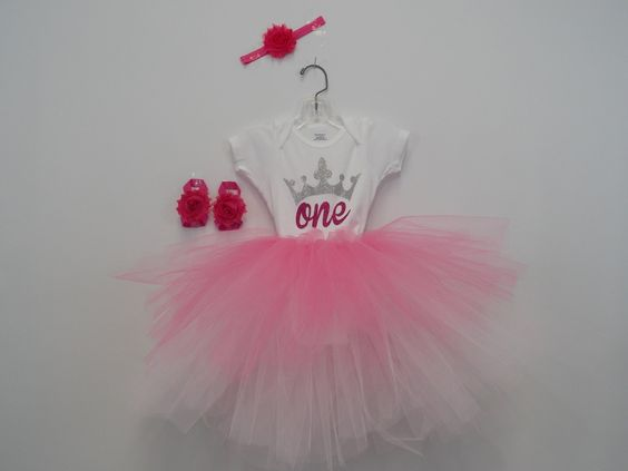 One year old birthday party onesie and tutu skirt outfit,matching headband and barefoot sandals,glitter design,flower headband,tulle skirt by BayWear on Etsy