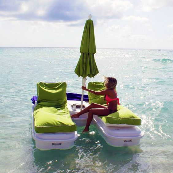 Imagine...laying on this sunbed, listening to the sound of the sea... just enjoying your day! I want this! Click to view tons of pictures.: Bucket List, Floating Cabana, Idea, Favorite Places Spaces, Iwant, Summer Fun, Cabana Float