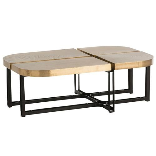 Arteriors Cyndi Hollywood Regency Gold Antique Brass Black Iron Coffee Table Coffee Table Iron Coffee Table Table