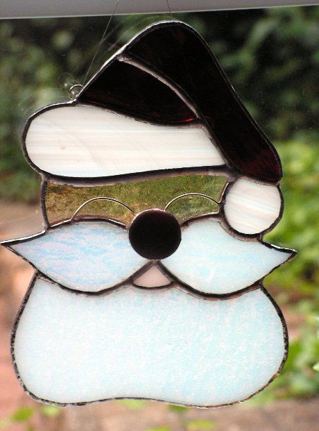 Santa claus stained glass suncatcher glasses and
