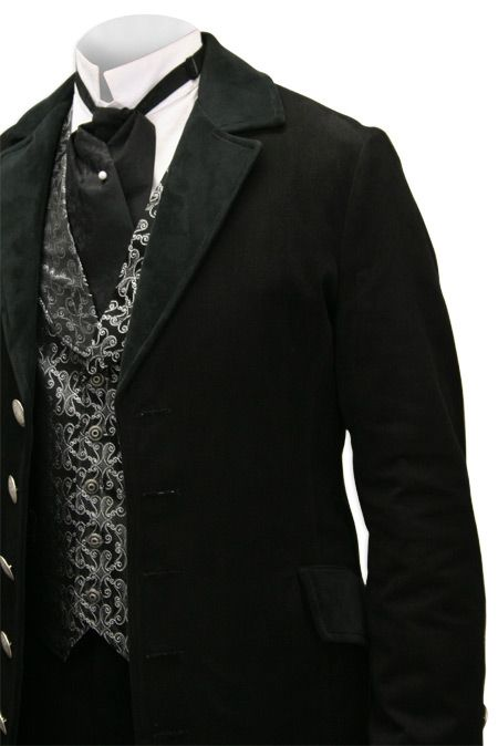 Throughout the 19th century, a gentleman of rank and means would not dare step out in daylight hours without a well made dress coat. Our Velvet Trimmed Edwardian Morning Coat makes a dashing choice for a leisurely brunch followed by a carriage ride down to the fields to cheer on the polo match.    It sounds insanely hot eleven months out of the year in Texas, but it's an elegant look.