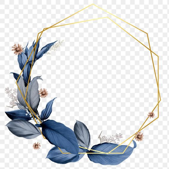 Blue Leaves With Golden Hexagon Frame Design Element Premium Image By Rawpixel Com Hein Frame Design Flower Logo Design Photoshop Design Ideas