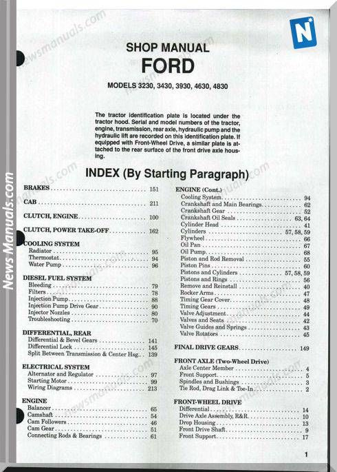 Ford 3230 3430 3930 4630 4830 Shop Manual Manual Electrical Diagram Ford