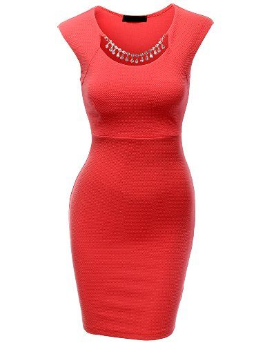Doublju Sleeveless Mini Dress With Necklace CORAL
