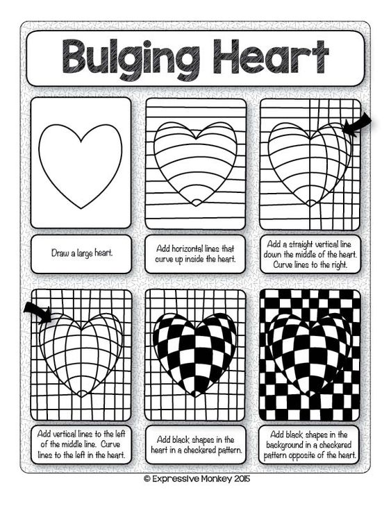 Printables Op Art Worksheet art lesson op using line value lessons patterns and make this heart with step by instructions sent some heart