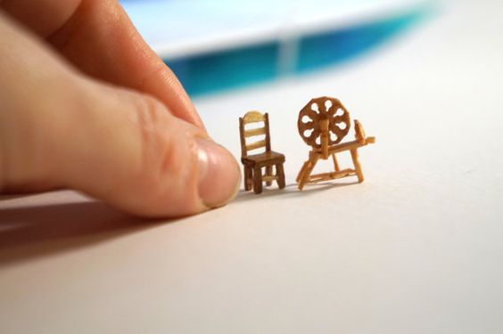 Miniature spinning wheel with ladder back chair by TheHouseOfTiny