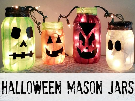 Halloween DIY Projects With Mason Jars - iVillage glue, tissue paper and christmas lights