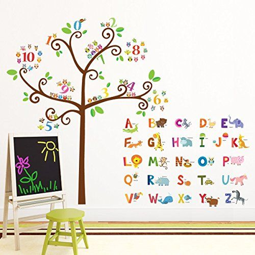 Brown//Green//Yellow My Wonderful Walls Peel and Stick Tree Growth Chart Forest Theme Wall Sticker
