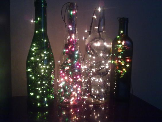 botellas con luces buenas ideas para reciclar pinterest