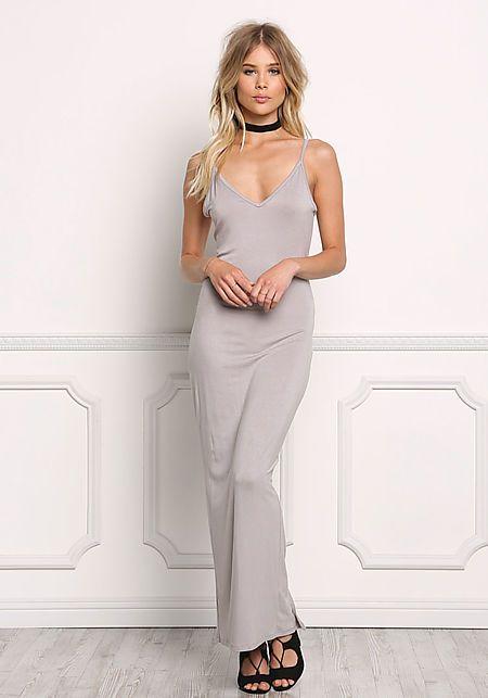 Silver Jersey Knit Slit Cami Maxi Dress