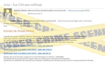 Muralha Informática: Aviso - Sua CNH sera notificada - E-mail fraudulen...