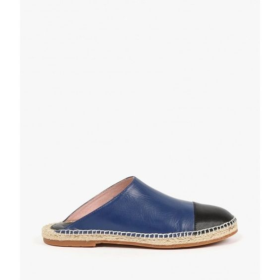 Charlotte Stone Elise Espadrille Slide ($167) ❤ liked on Polyvore featuring shoes, sandals, twilight, slip on flats, cap toe flats, slip on shoes, flat pumps and woven flats
