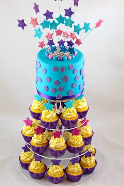 sparkle cupcake tower this is year olds girl birthday cupcake tower