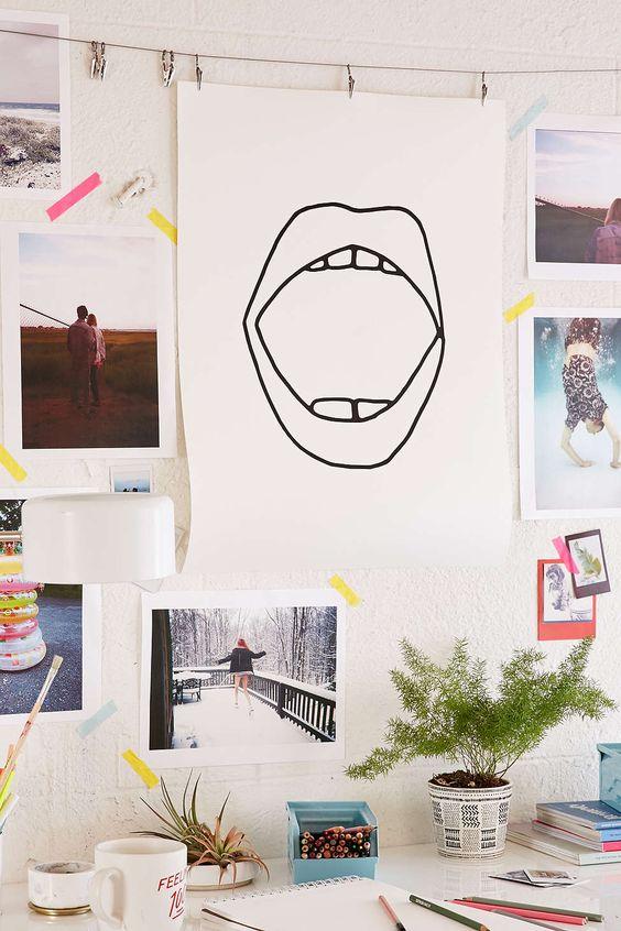 Decorating Ideas > Dorm Room Goals Cult Paper Mouth Art Print  Urban  ~ 050050_Urban Dorm Room Ideas