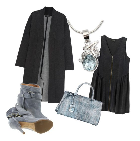"""Black with blue"" by sevenstone ❤ liked on Polyvore featuring Calvin Klein Collection, Monki, Jil Sander, Maison Margiela and NOVICA"