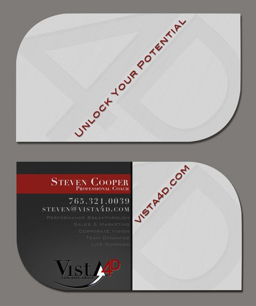 Die cut business card design for Vista 4D. I love the shape of these cards.