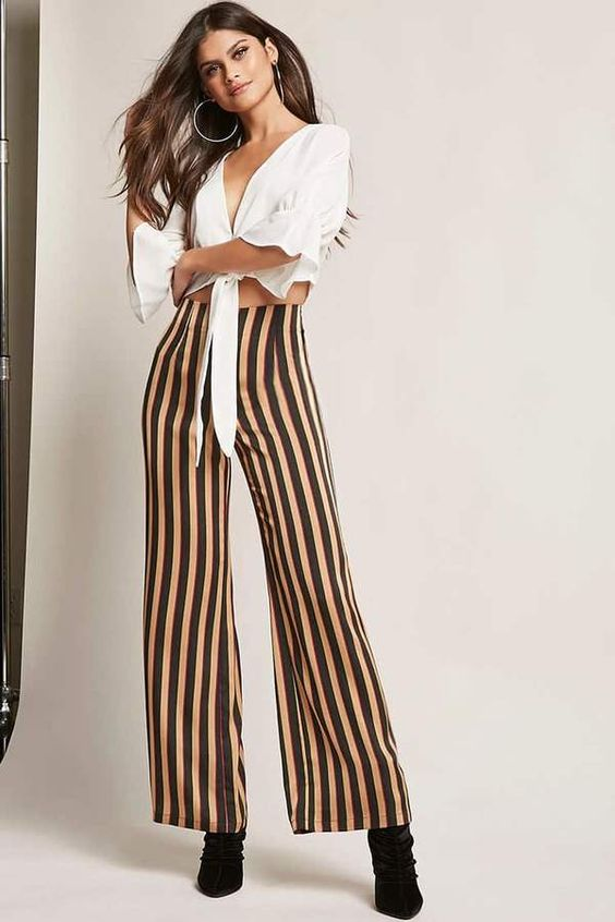 FOREVER 21 Multi-Stripe Palazzo Pants
