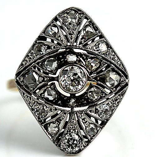 Edwardian Platinum and 18 Kt Yellow Gold Old European Cut and Rose Cut Diamond Engagement Ring Circa #weddings