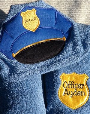 Super cute!! Police Hooded Towel ... Bath or Pool Wrap .. Policeman Cop Officer. $34.95, via Etsy: