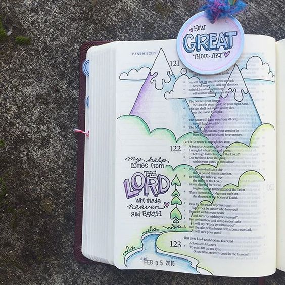 Bible Journaling by s a r a h @3robins | Psalm 121-122