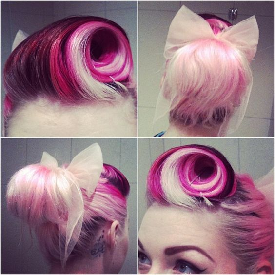 Love this blonde streak in the roll pin...want to try this with my haircolor and see how it looks