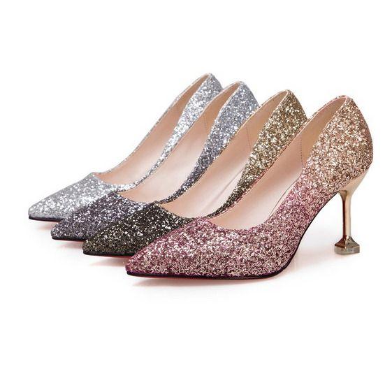 2019 Uk New Ladies Glitter Ombre Low Kitten Heel Pointed Court Shoes Size 3 8 Kitten Heels From Ebay Uk Kittenheels Heels Kitten Heels Womens High Heels