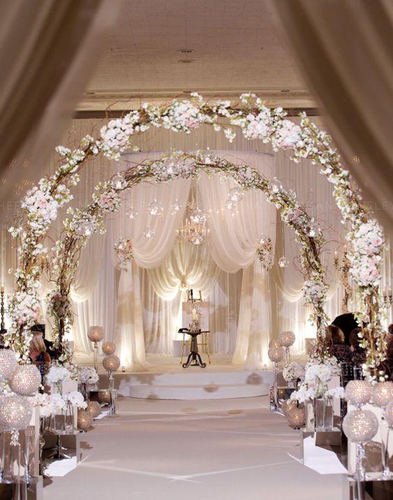 glamourous romantic blush pink wedding ceremony ideas