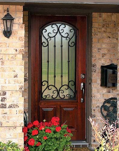 Mahogany Wood Wrought Iron Valencia Arch Lite Front Door