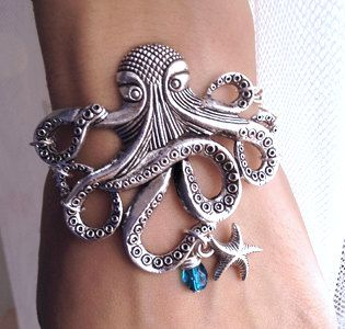 Silver Octopus with Starfish charm Bracelet   by pier7craft, $9.50