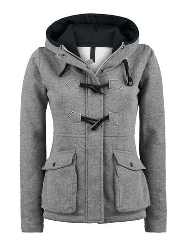 Women's Leisure Front Zip Pocket Hoodie Gray on buytrends.com