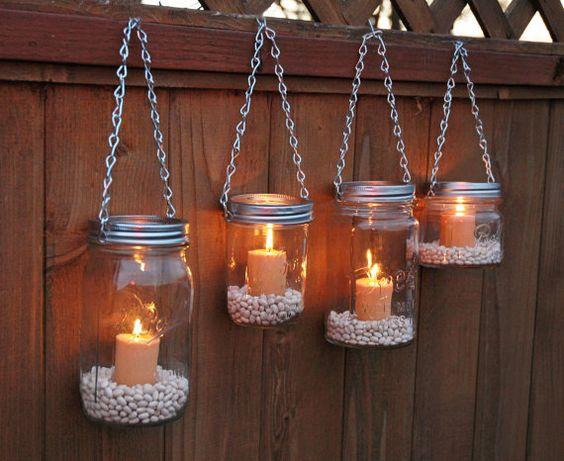 DIY Hanging Mason Jar Luminary Lantern Lids - Set of 4
