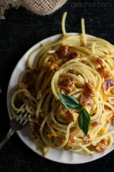 Butternut Squash and Prosciutto Bucatini Carbonara from girlchef.com