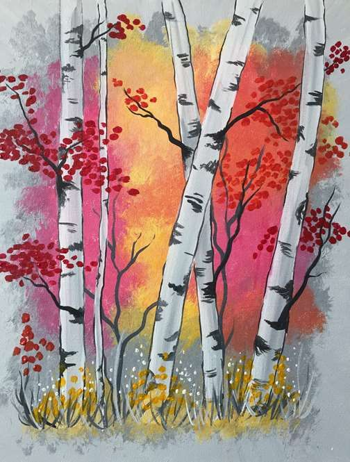 Aspen Trees At Sunrise Flower Art Painting Tree Painting Art
