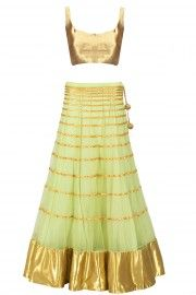 Muted lime green gota line embroidered lehenga set