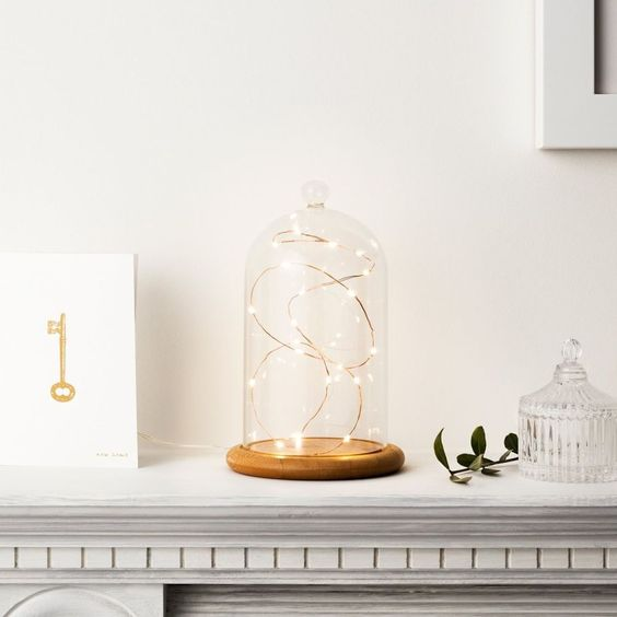 Regular Glass Cloche Bell Jar Dome with Bamboo Tray by Lights4fun Fairy Lights