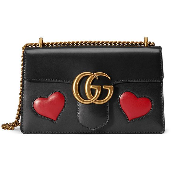 Gucci GG Marmont Medium Heart Shoulder Bag (8.410 BRL) ❤ liked on Polyvore featuring bags, handbags, shoulder bags, black multi, leather shoulder bag, shoulder handbags, leather purses, gucci and lips pursed