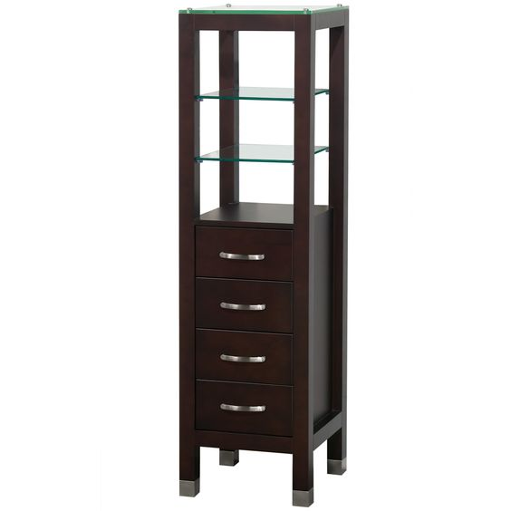 Afford your bathroom some much needed storage space with this modern 4-drawer Linen Tower, solidly constructed in eco-friendly wood.