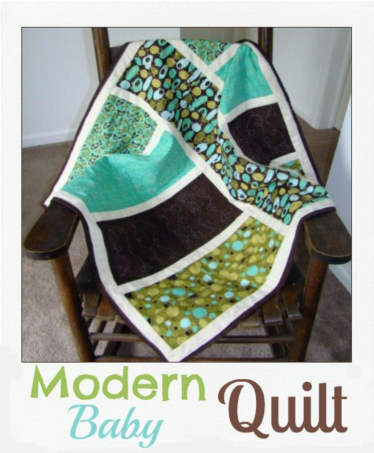 Modern Baby Quilt - love it.. black and shades of blue & green