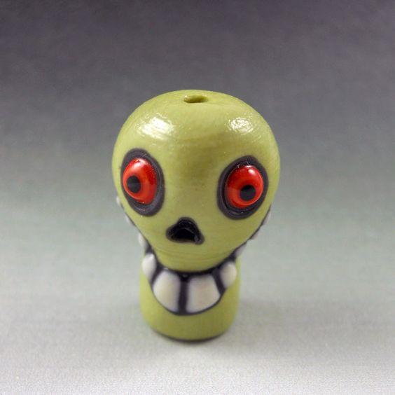Green Skull Bead - Handmade Colored Porcelain. $20.00, via Etsy.