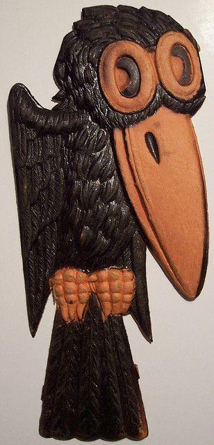 Vintage German Halloween Diecut Crow |