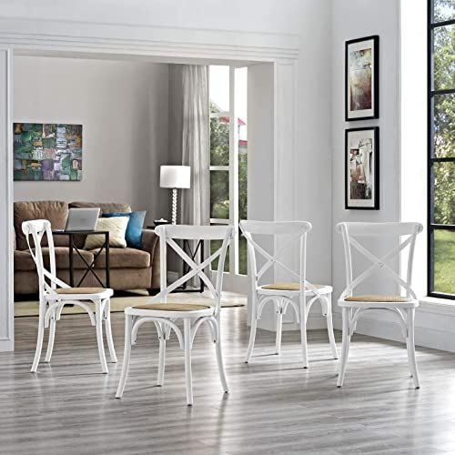 New Modway Gear Rustic Modern Farmhouse Elm Wood Rattan Four Dining Chairs In White Furniture 626 6 Farmhouse Dining Chairs Side Chairs Dining Dining Chairs