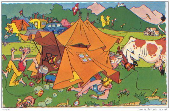 Suisse, Camping, Tente, Vache, Illustration de Walti (?), Editions Kiener n°793, CP ayant circulé