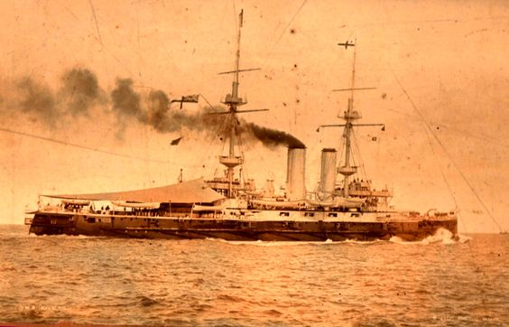 HMS Implacable (1899) at Malta in 1908; Formidable-class battleship, 15,000 ton, 1902(c), 4-12in guns, 18kts, 780 crew, Dardanelles 1915.  Main location:   Aug 1914-Aug 1917, Mediterranean, East Indies Station.   Sold in 1921.