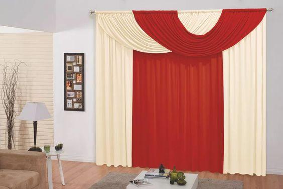 cortina mariana c/ bandô para varão simples 3m várias cores