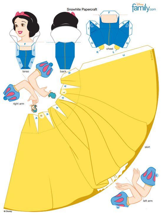 Snow White 3D Papercraft   Disney Princess & Knight Birthday Party ...