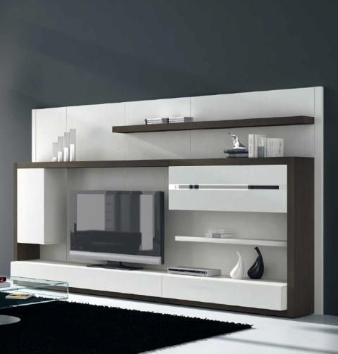 mueble de salón en blanco combinado con madera oscura muebles salon