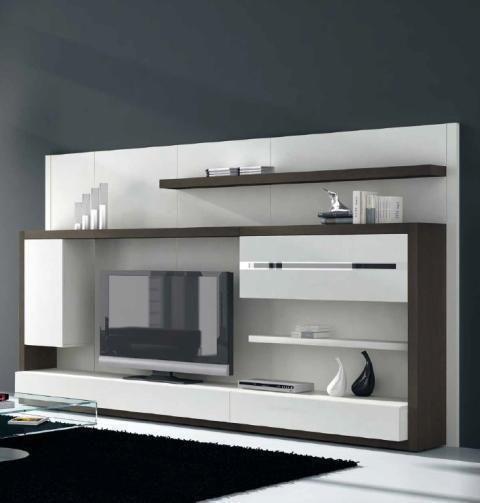 moderno mueble de salón en blanco combinado con madera oscura muebles
